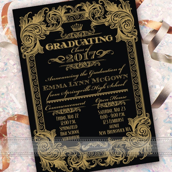 graduation announcement, graduation invitation, black and gold graduation, formal graduation announcement, grad party, IN547