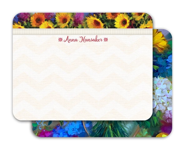 personalized notecards, notecard set, thank you cards, teacher appreciation gift, personalized stationery, Nancy Medina notecard set, NS183
