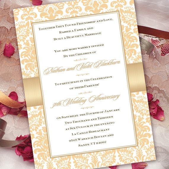 50th wedding invitation, 50th wedding anniversary, champagne 50th wedding, gold 50th anniversary invitation, golden anniversary, IN182