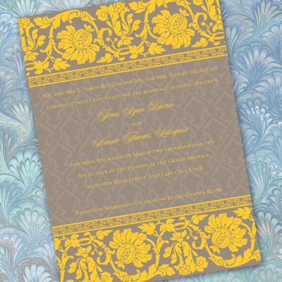 wedding invitations, printable wedding invitations, yellow wedding invitations, gold graduation invites, wedding package,