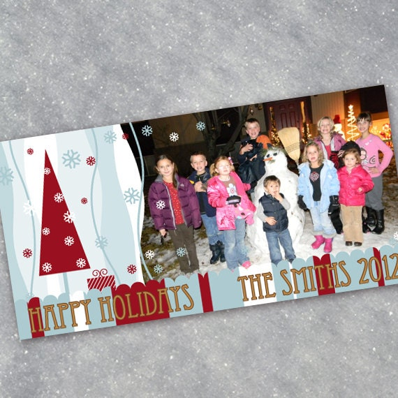 Christmas cards, Christmas tree photo card, snowflake Christmas card, blue Christmas, 4x8 Christmas card, happy holidays photo cardCC002