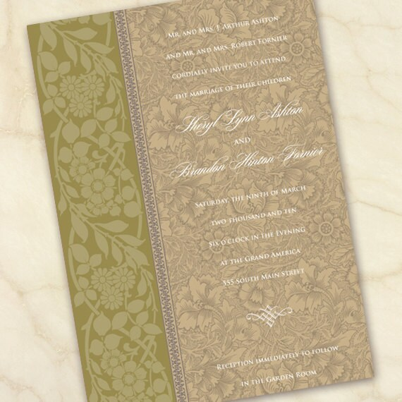 wedding invitations, olive wedding invitations, floral wedding invitations, avocado bridal shower invitations, wedding package,