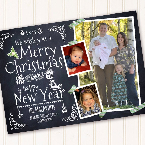 Christmas cards, chalkboard Christmas card, Happy New Year blackboard card, blackboard photo card, chalkboard Christmas, CC251