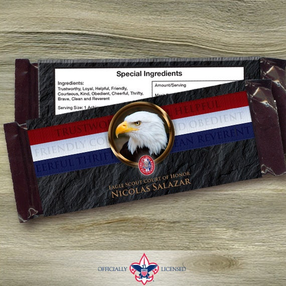 Eagle Scout candy bar wrappers, Eagle Scout Court of Honor, Hersheys chocolate bar wrappers, Court of Honor, BSA0304