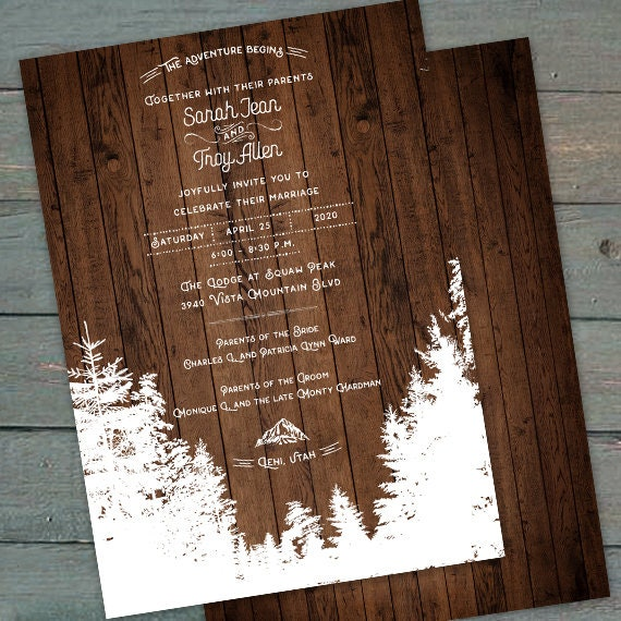 wedding invitations, mountain wedding invitations, barnwood wedding invitations, outdoor wedding invitations, adventure wedding, IN701