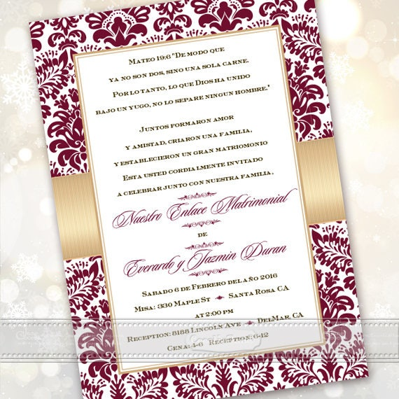50th wedding anniversary, 50th wedding anniversary invitations, Spanish anniversary, cranberry wedding anniversary, anniversary party, IN629
