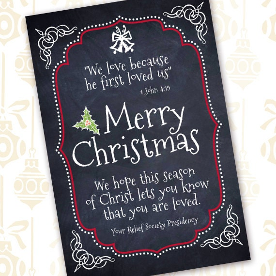Christmas cards, 4x6 chalkboard Christmas card, neighbor Christmas card, chalkboard holiday card, Relief Society note, CC081
