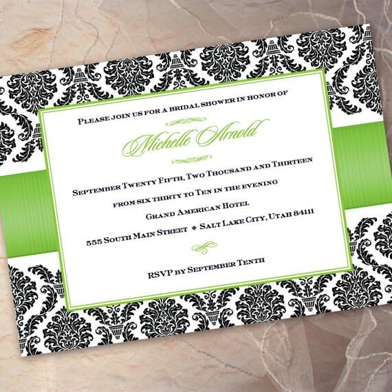 bridal shower invitations, lime bridal shower invitations, formal bridal shower invitations, green apple bridal shower invitations, IN204