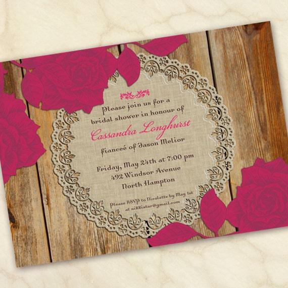 bridal shower invitations, hot pink bridal shower invitations, fuchsia bridal shower invitations, cowgirl bridal shower invitations