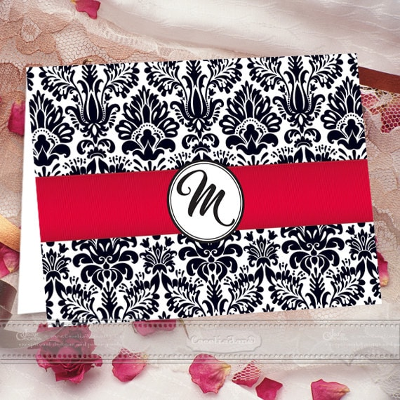 thank you cards, monogram thank you cards, damask thank you cards, red graduation thank you cards, monogram notecards, PS124