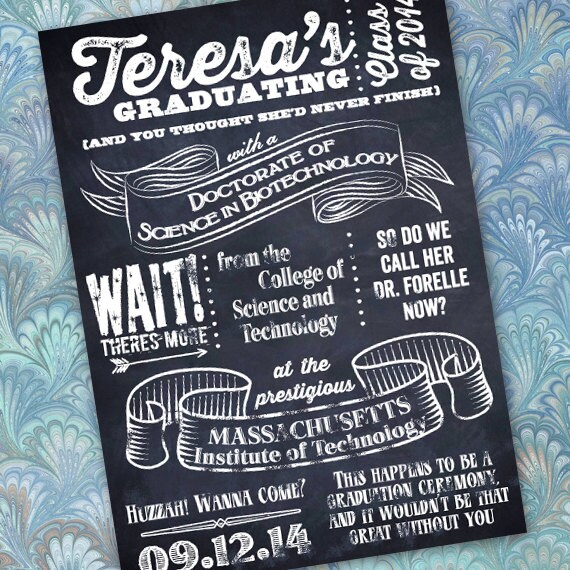 graduation invitations, graduation announcements, chalkboard graduation announcements, grad party, college graduation, huzzah grad! IN321