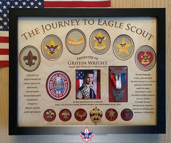 Journey to Eagle Plaque, 11x14 wood plaque, Eagle Scout patches, Eagle Scout pins, Customized, Eagle Scout, Court of Honor, BSA1407