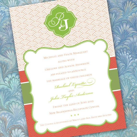 wedding invitations, coral wedding invitations, lime wedding invitations, wedding package, bridal shower invitations, wedding package, IN198
