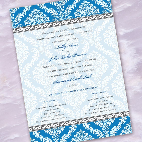 wedding invitations, bridal shower invitations, turquoise damask wedding, turqouise bridal shower invitations, wedding package,