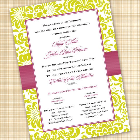 wedding invitations, lime and pink wedding invitations, pink and lime bridal shower invitations, wedding package, IN310