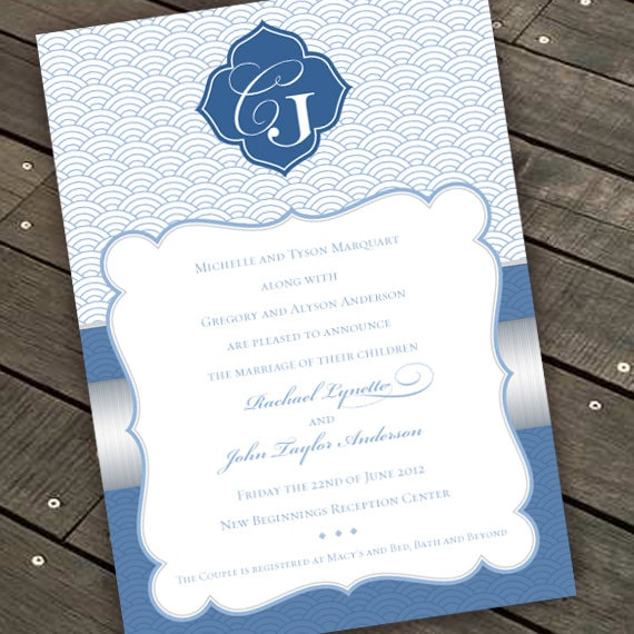 wedding invitations, coastal wedding invitations, blue and silver invitations, silver and blue wedding invitations, wedding package, IN286.1