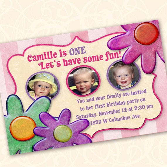 Birthday Party Invitations 1st Invitation Flowers And Stripes Pinkalicious Girly