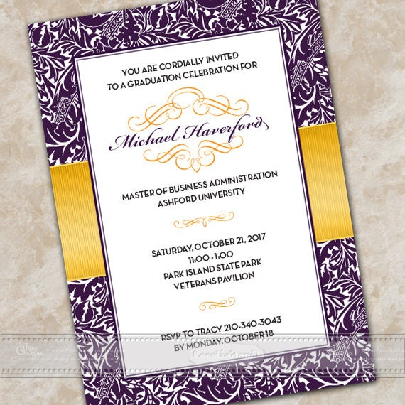 graduation invitations, royal purple graduation invitations, gold graduation announcement, gold graduation, college graduation, IN670