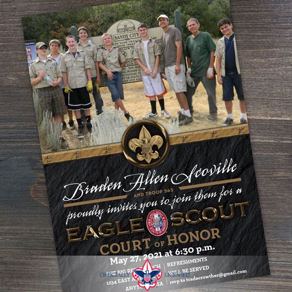Eagle Scout court of honor invitation, single sided invitation, Boy Scouts of America invitation, Court of Honor, BSA1101