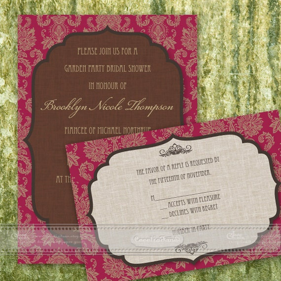 bridal shower invitation, ruby bridal shower invitations, chocolate bridal shower, cranberry bridal shower, damask bridal shower, IN371