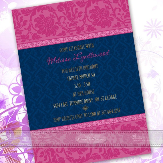bridal shower invitations, fuchsia bridal shower invitations, fuchsia birthday party invitations, hot pink party invitations, IN433