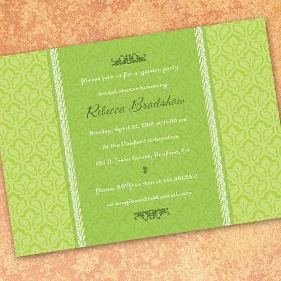 bridal shower invitations, lime bridal shower invitations, lime wedding shower invitations, lime graduation announcements, IN185