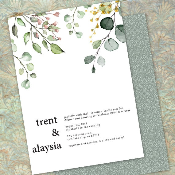 wedding invitations, eucalyptus wedding invitations, greenery wedding invitations, botanical wedding invitations, foliage wedding, IN697