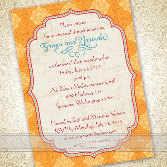 wedding invitations, Moroccan wedding invitations, tangerine tango bridal shower invitations, wedding package, IN364