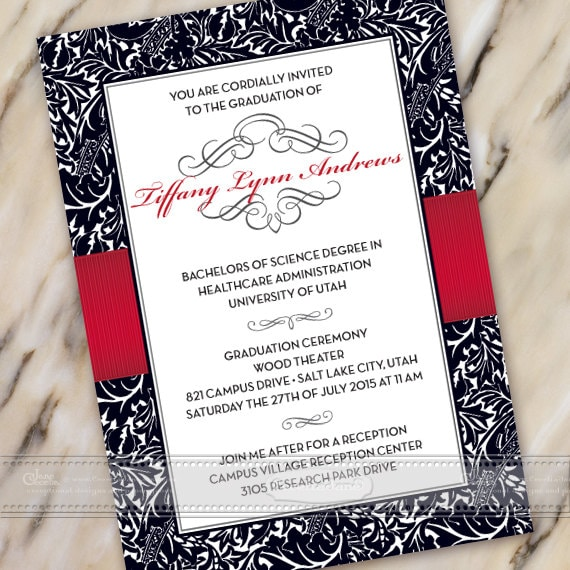 graduation invitations, crimson graduation invitations, crimson graduation announcements, wedding invitations, IN389