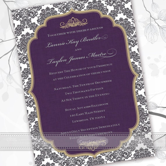 wedding invitations, wedding invitations and rsvp, wedding package, wedding thank you cards, eggplant wedding invitations, IN444