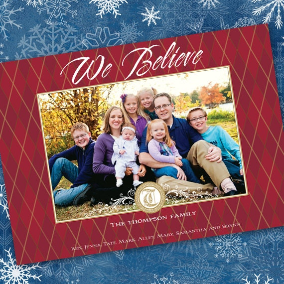 Christmas cards, red and gold Christmas card, gold argyle holiday, red argyle photo Christmas card, monogram argyle Christmas card, CC022