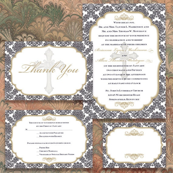 wedding invitations, wedding invitations with rsvp, wedding programs, gold wedding package, wedding package, IN349