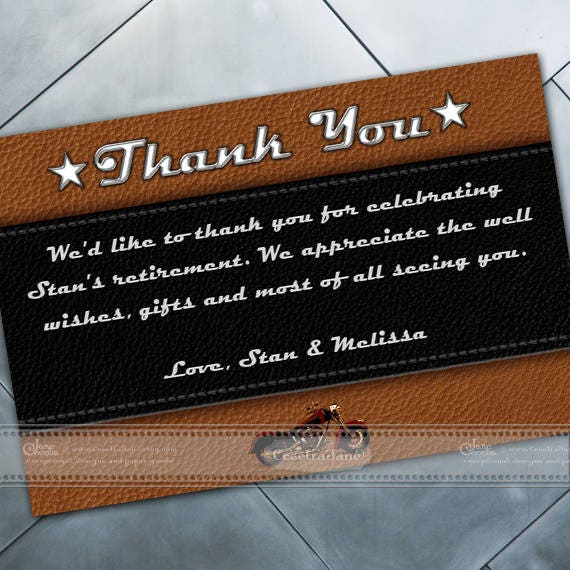 thank you cards, preprinted thank you cards, retirement party thank you cards, Harley Davidson birthday party, birthday thank you, IN656