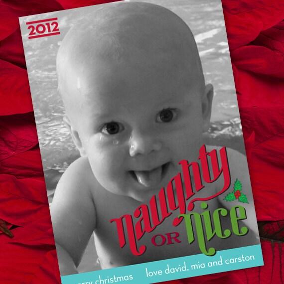 Christmas cards, naughty or nice Christmas card, red and green Christmas card, photo Christmas card, angelic Christmas card, CC056