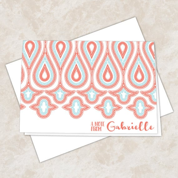 personalized notecards, turquoise thank you cards, red thank you notes, 4.25x6 notecards, teacher appreciation, NC134
