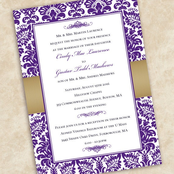 wedding invitations, eggplant wedding invitations, gold wedding invitations, eggplant wedding invitations, wedding package, IN501