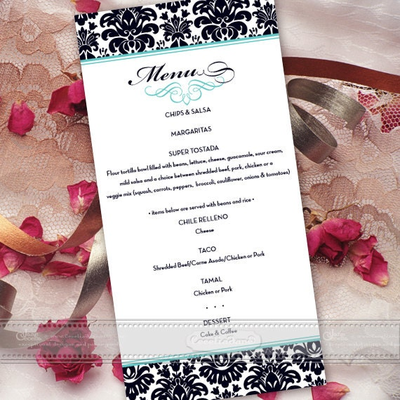 dinner menu, rehearsal dinner menu, wedding luncheon menu, bridal shower brunch menu, turquoise wedding menu, wedding package, IN464