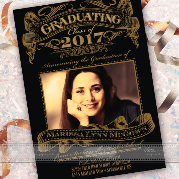 graduation announcement, graduation invitation, black and gold graduation, formal graduation announcement, class of 2017, IN548