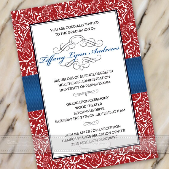 graduation invitations, crimson graduation invitations, royal blue graduation invitations, grad party invitations, grad party, IN387v2