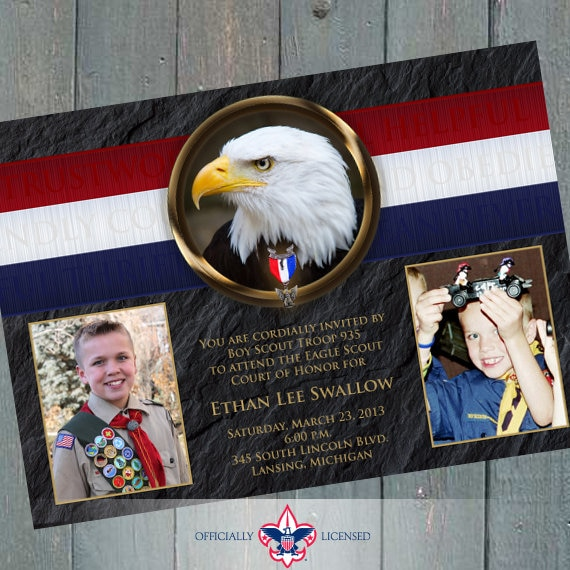 Eagle Scout court of honor invitation, single sided invitation, Boy Scouts of America invitation, Court of Honor, BSA0301