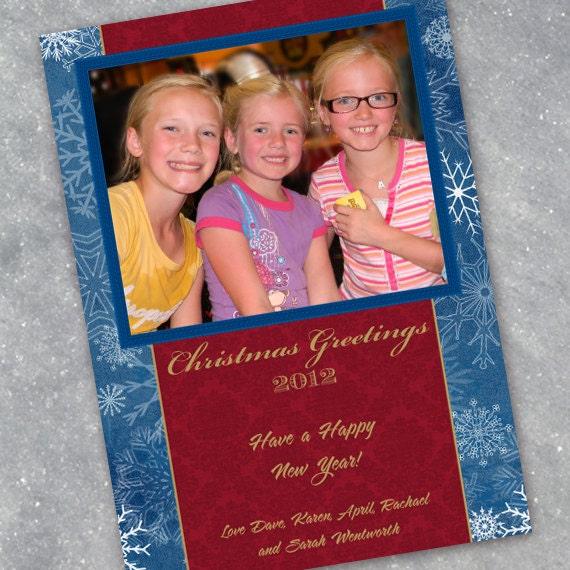 Christmas cards, snowflake Christmas card, red damask Christmas card, red and gold Christmas card, blue Christmas card, CC051