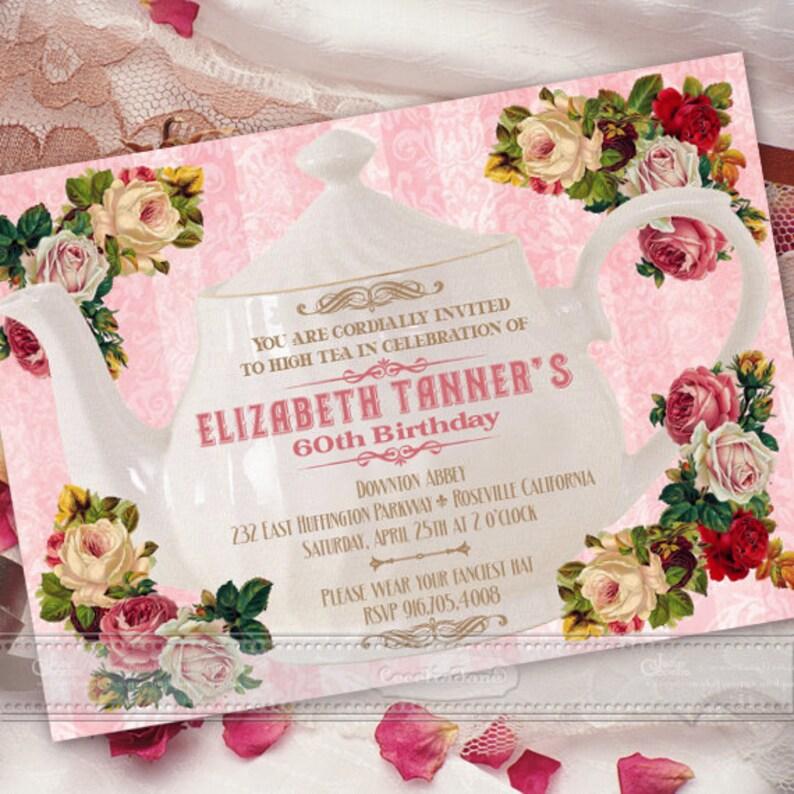 Birthday Party Invitations Victorian Wedding Pink Tea Retirement IN372