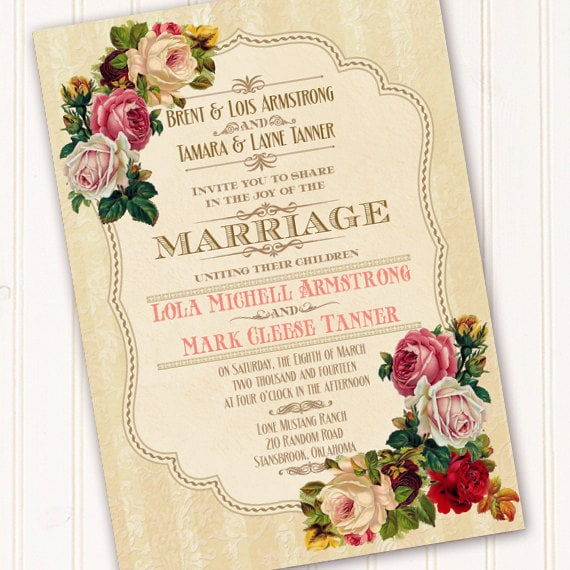 wedding invitations, Victorian wedding invitations, classic Victorian bridal shower invitations, wedding package, IN263