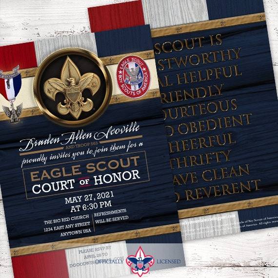 Eagle Scout court of honor invitations, double sided invitations, Court of Honor invitation, BSA invitations, BSA0901