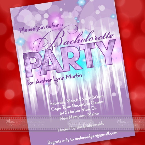 bachelorette party ideas, bachelorette party invitations, purple bachelorette party, bubbles and bridesmaids, bridal shower ideas, IN362