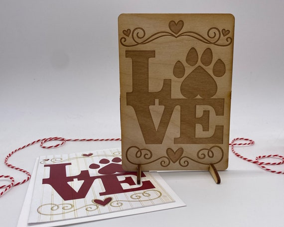 wood card, laser engraved card, Valentines Day card, I love you, puppy love, kitty love, Happy Valentines, PCS047