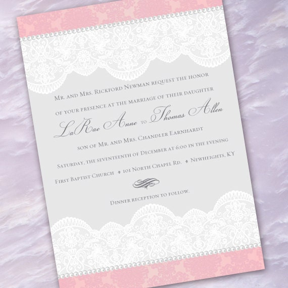 wedding invitations, pink and lace wedding invitation, Victorian wedding invitations, lace wedding invitations, wedding package, IN215