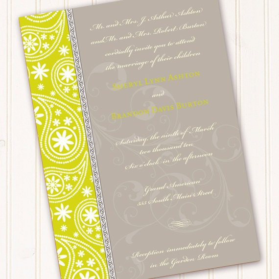 bridal shower invitations, yellow bridal shower invitations, goldenrod bridal shower invitation, paisley bridal shower invitations
