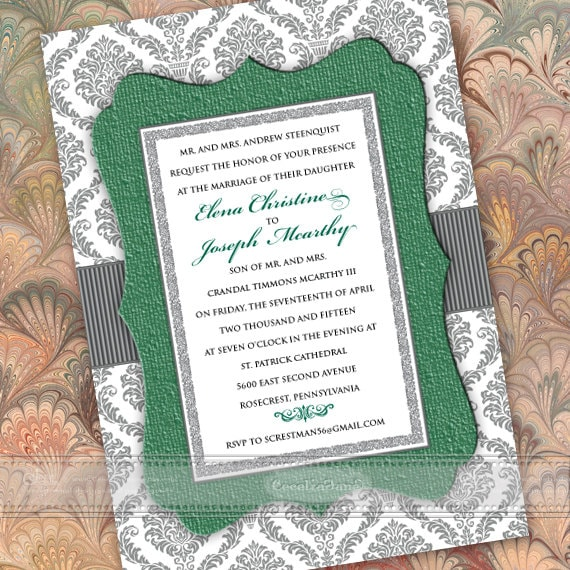 wedding invitations, green wedding invitations, wedding invitations and rsvp, bridal shower invitations, wedding package, IN376