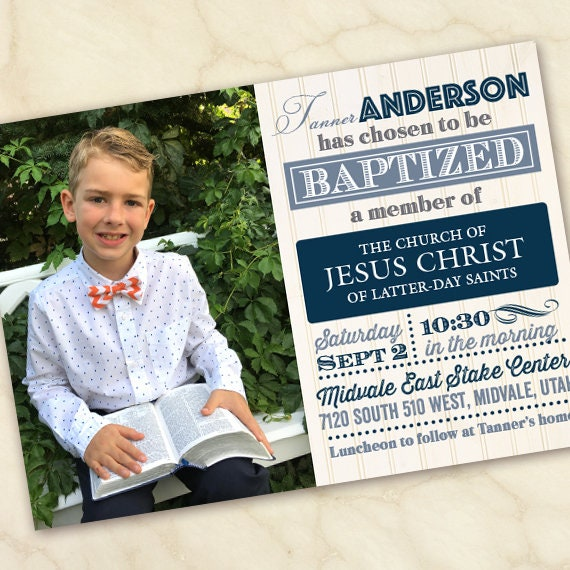 baptism invitation, baptism candidate invitation, church baptism invitation, religious baptism invitation, Church of Jesus Christ, IN648